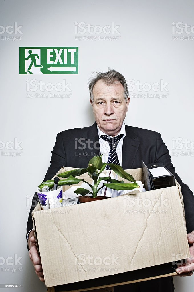 Senior White Collar Man Just Been Fired royalty-free stock photo