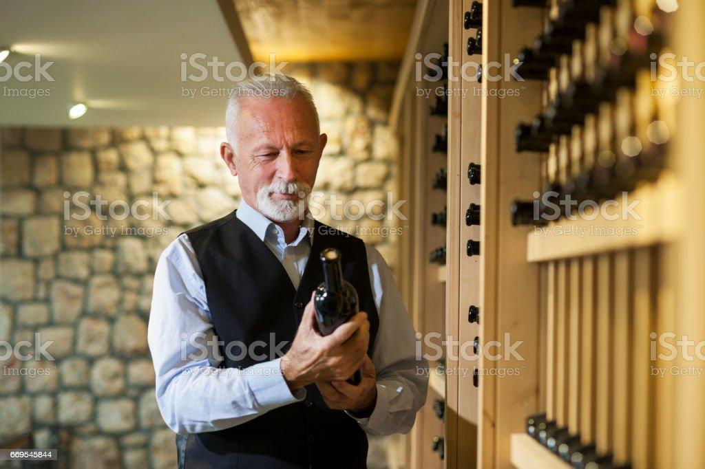 Senior winemaker stock photo