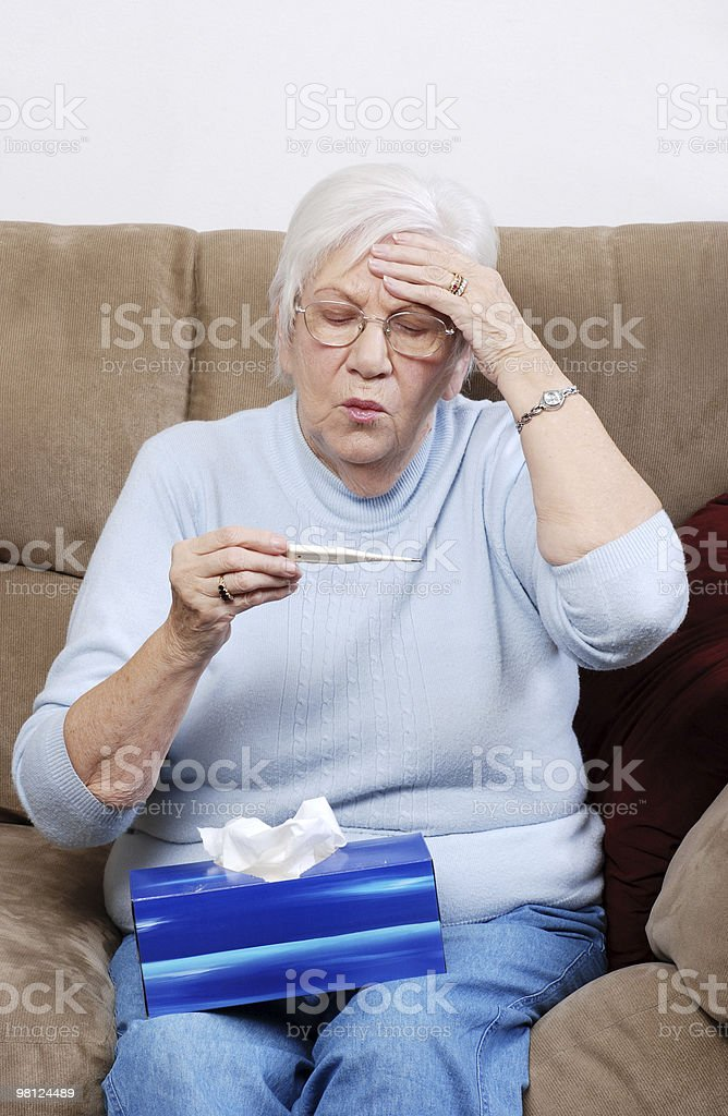 senior with a fever royalty-free stock photo
