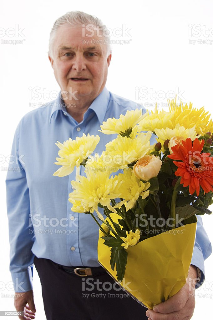 Senior with Flowers royalty-free stock photo