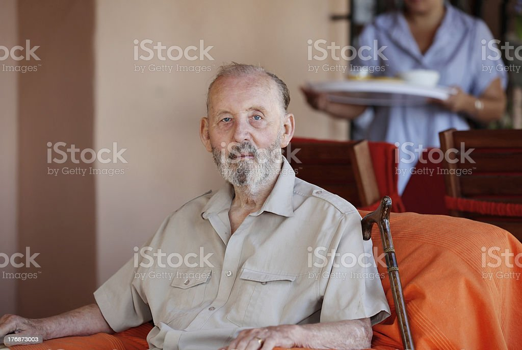 senior with nurse or carer stock photo