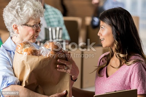 istock Senior woman accepts bag of donated groceries 623503072