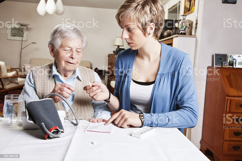 senior woman and blood pressure royalty-free stock photo