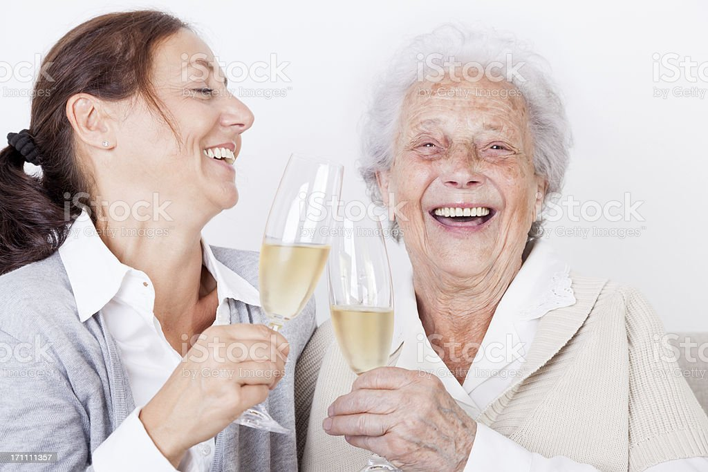 Senior woman and caregiver royalty-free stock photo