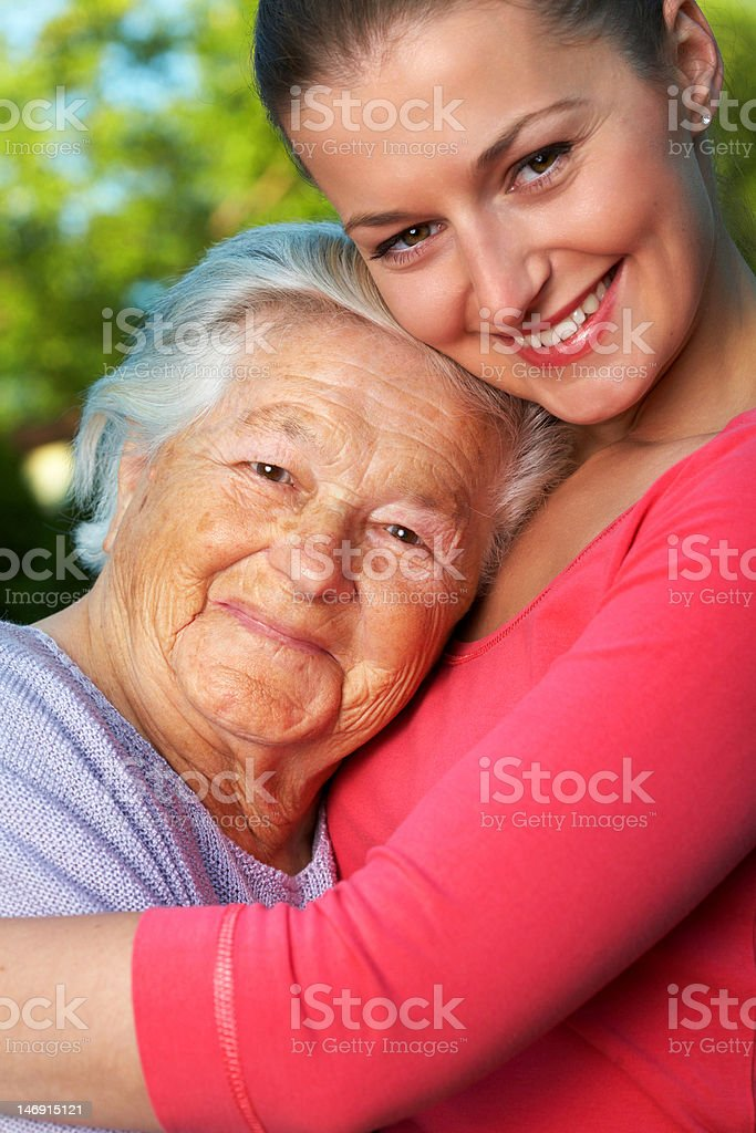 Senior woman and her granddaughter royalty-free stock photo