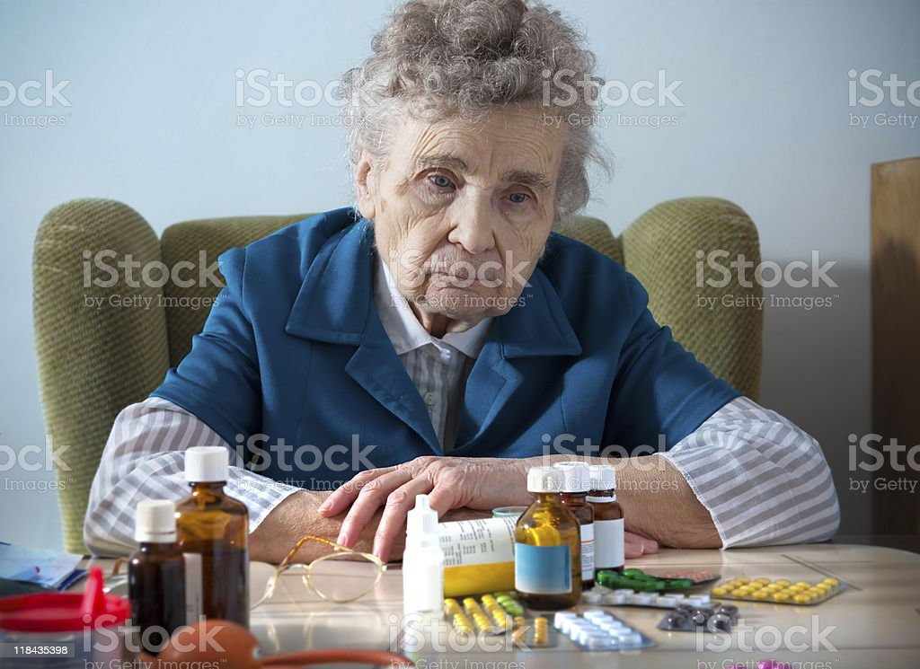 senior woman  and medicine stock photo