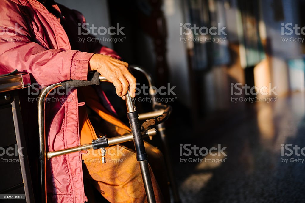 Senior Woman and Walker stock photo