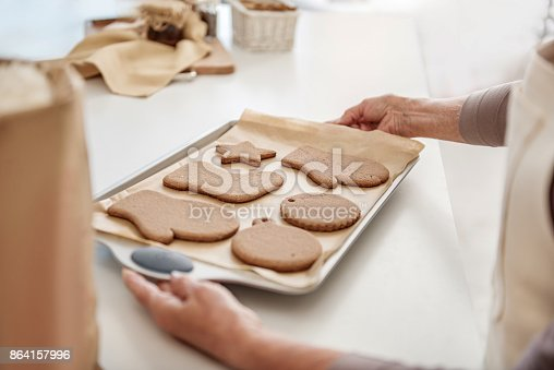 istock Senior woman arms holding undersell with self-made pastry 864157996