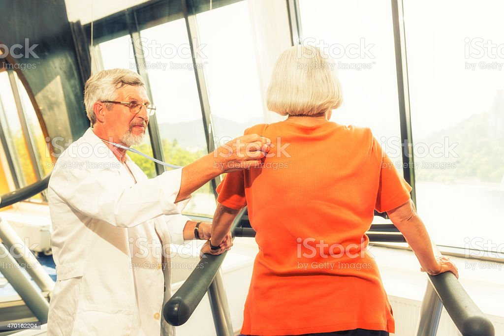 Senior woman at fitness stock photo