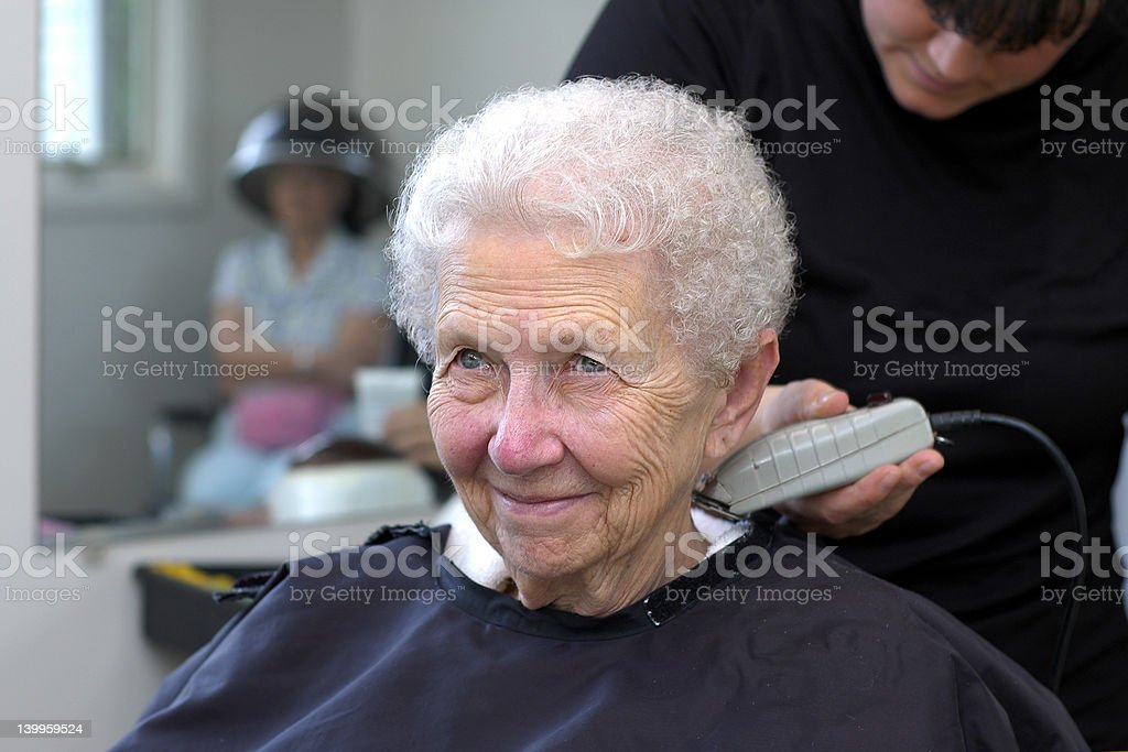 Senior Woman at Hair Salon stock photo