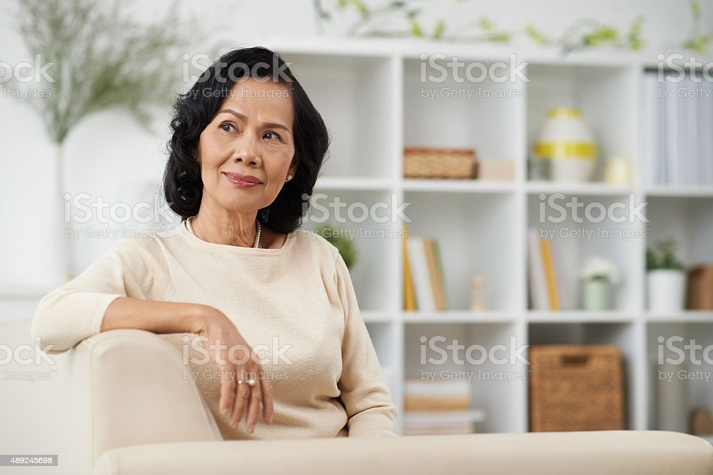 Senior woman at home stock photo