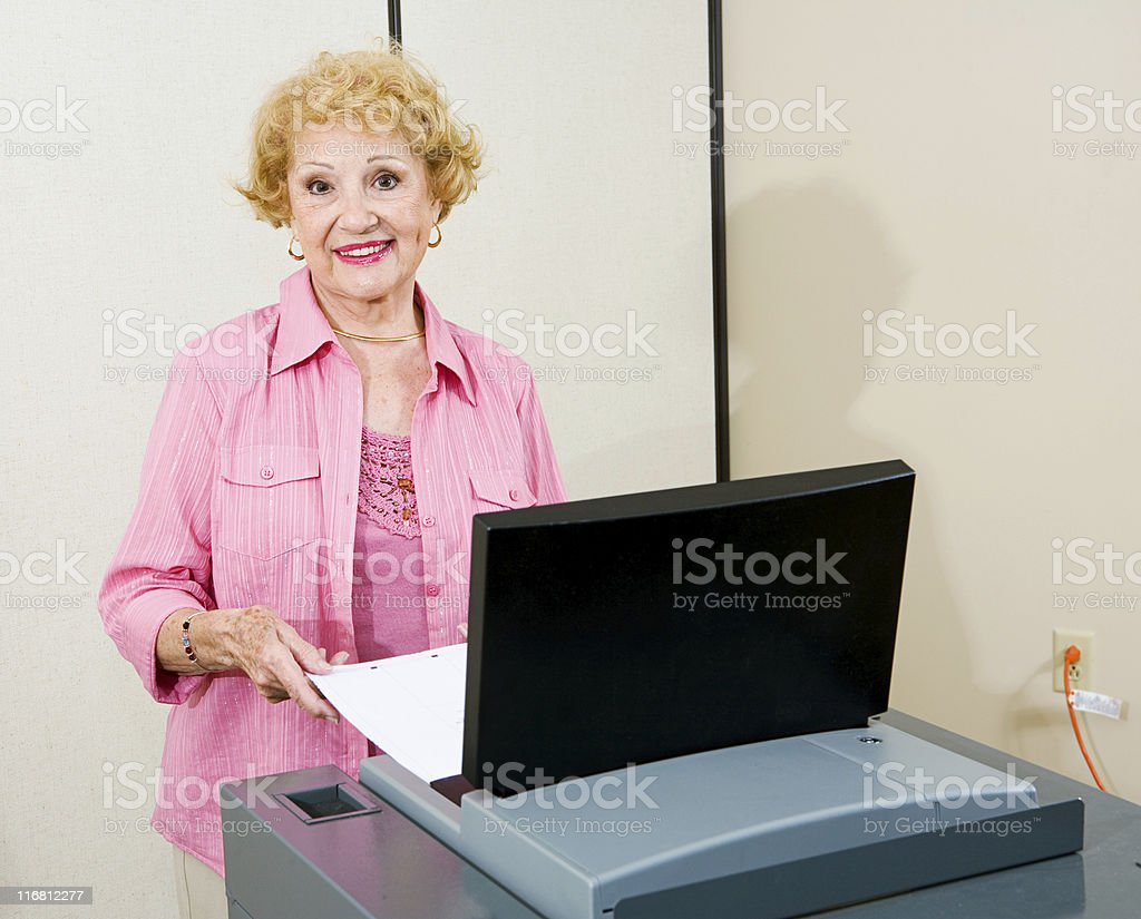 Senior Woman at Polls royalty-free stock photo