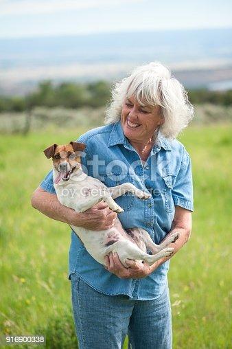 istock Senior Woman Carrying her Pet Dog 916900338