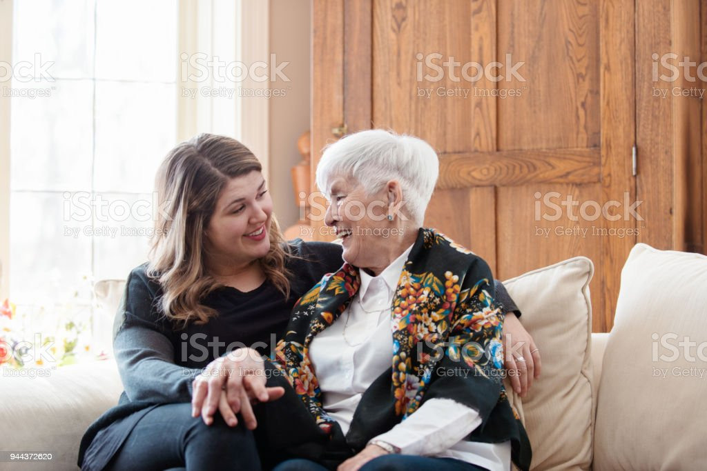 Senior woman celebrate mother's day with her family stock photo