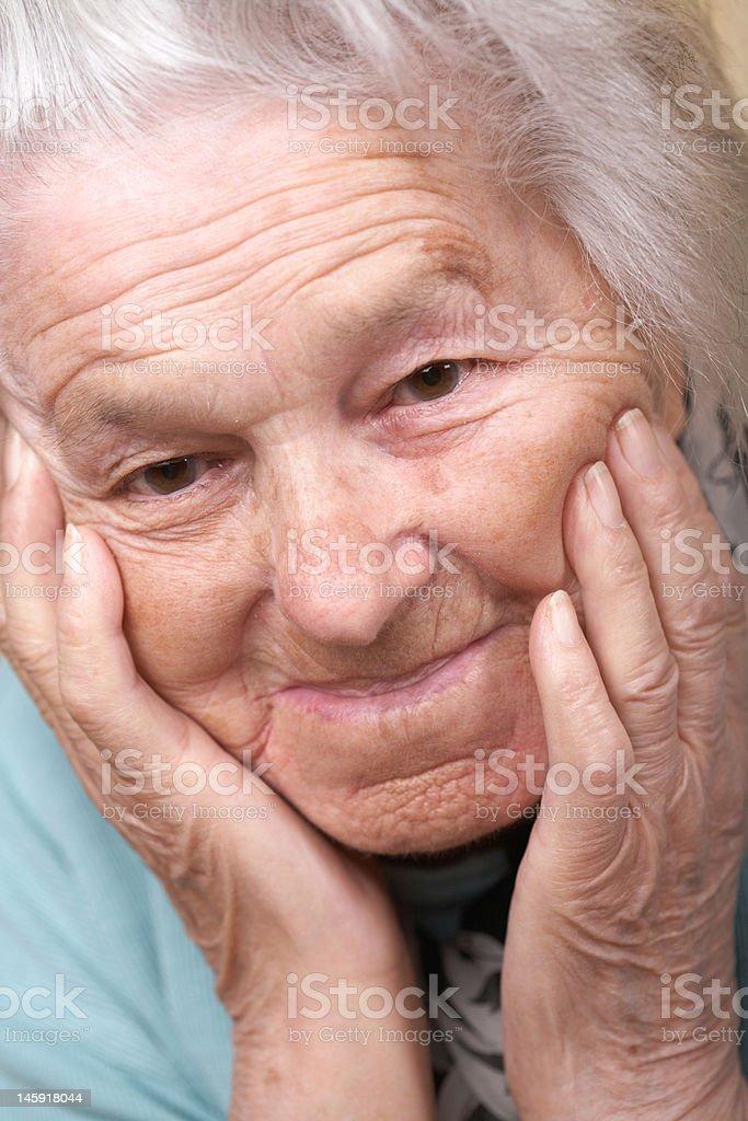 Senior woman depressed royalty-free stock photo
