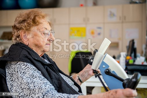 912333752 istock photo Senior Woman Doing a Physiotherapy Exercise in Retirement Home 871901534