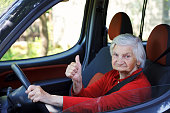 Senior woman driving