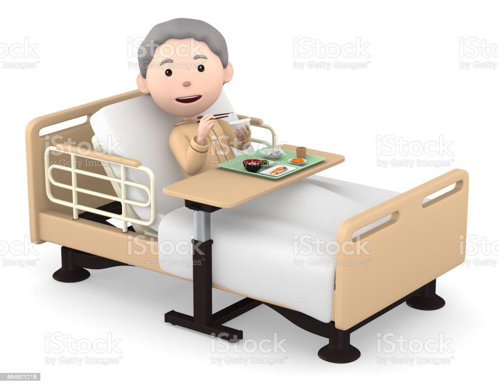 年配の女性の病院、3 D イラストで食事 - 1人のロイヤリティフリーストックフォト