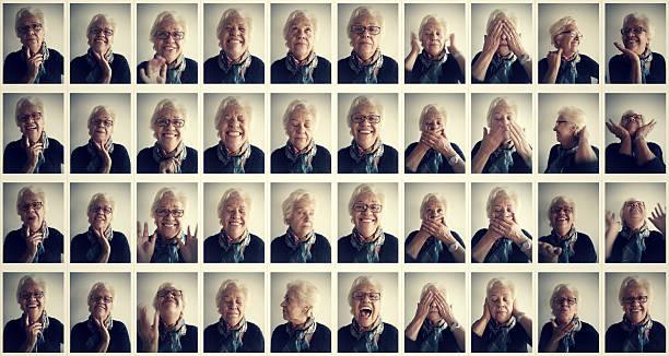 senior frau exzentrisch photo booth - alte serien stock-fotos und bilder