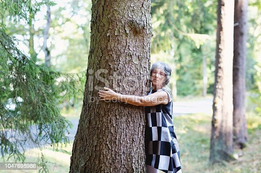 senior woman, 63 years old standin in a forest near laake Sorpesee, in the Sauerland region, Northrhine Westfalia, Gernany and she is hugging a tree