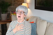 istock Senior woman experimenting chest pain 1281479990