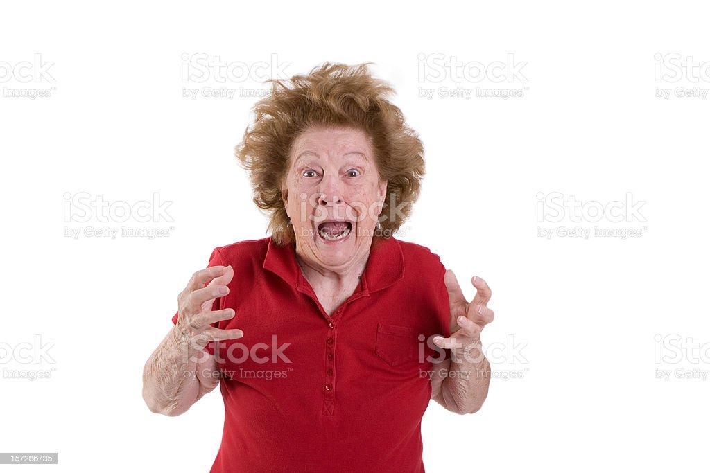 Senior woman frazzled royalty-free stock photo