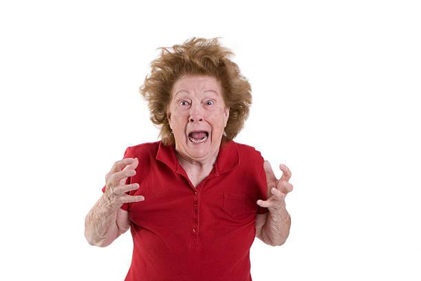 Senior woman frazzled stock photo