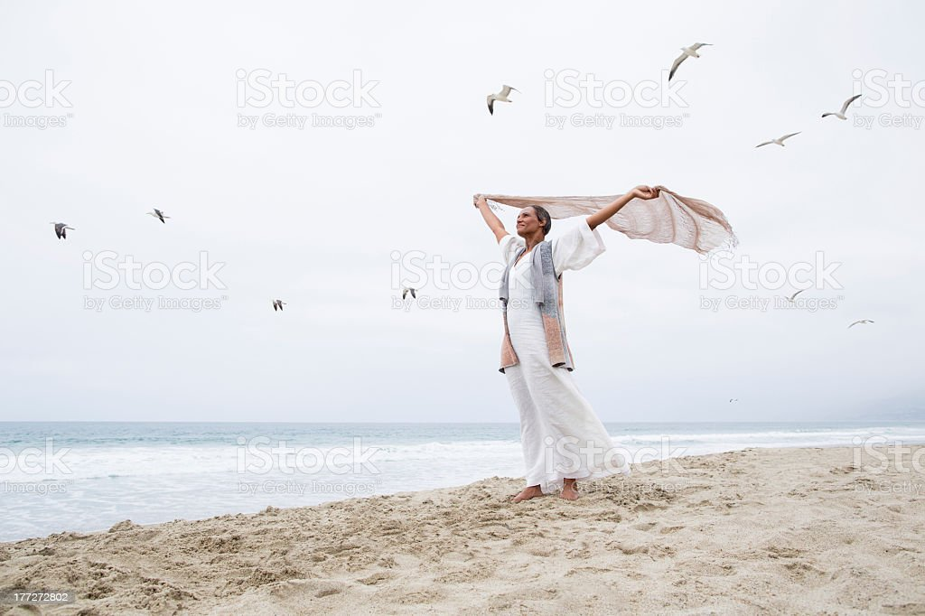 Senior woman freedom stock photo