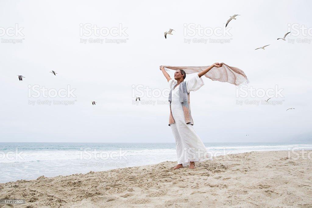 Senior woman freedom stock photo