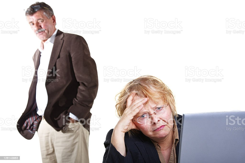 Senior Woman Frustrated With A Laptop royalty-free stock photo
