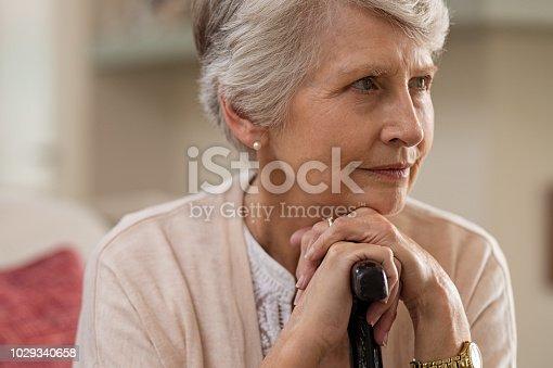 874789168istockphoto Senior woman holding cane 1029340658