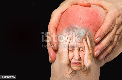 istock Senior woman holding the knee with pain 646699460