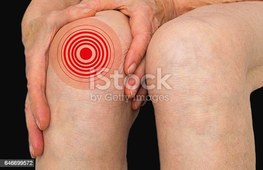 istock Senior woman holding the knee with pain 646699572