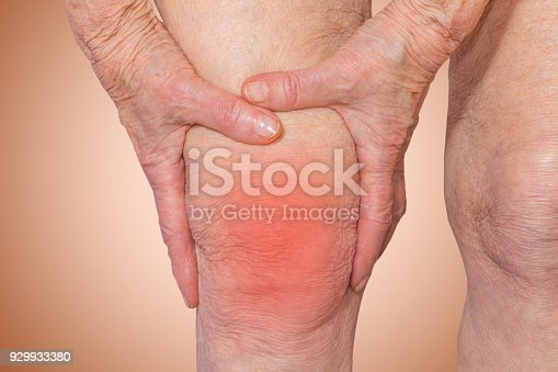 698466046istockphoto Senior woman holding the knee with pain 929933380