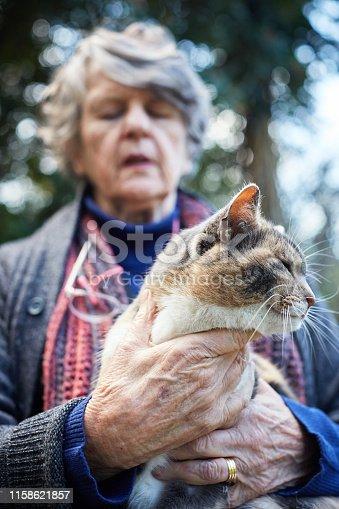 Senior with her beloved animal.