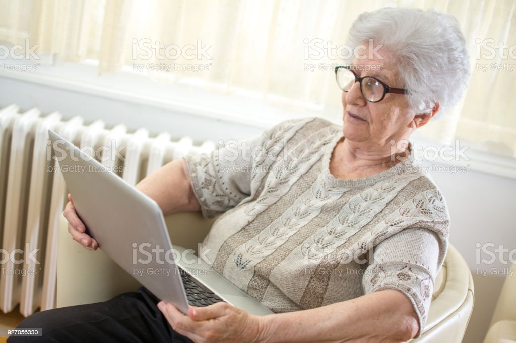 b1091f404b Senior woman in eyeglasses with gray hair using laptop while sitting on  armchair at home. - Stock image .