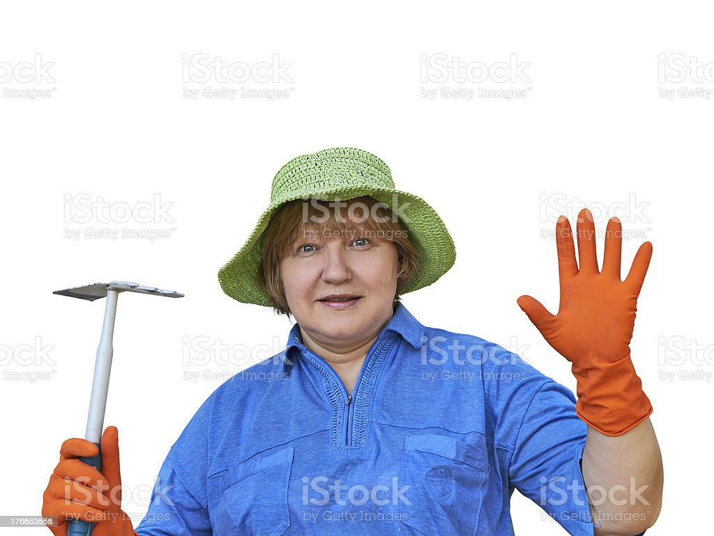 Senior Woman In Gloves With Garden Tools royalty-free stock photo