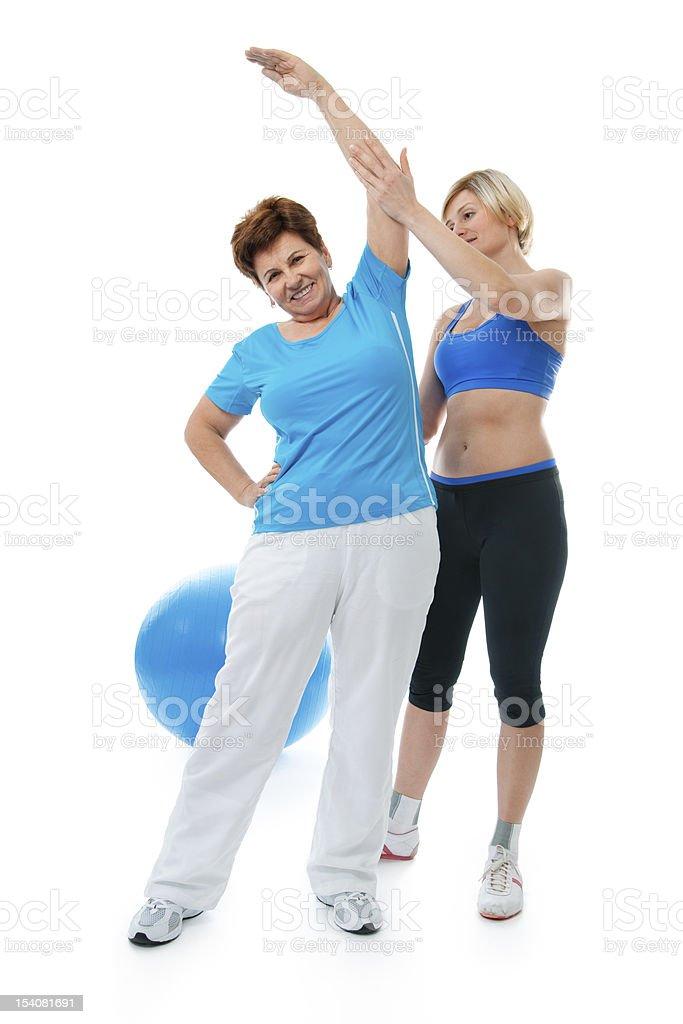 Senior woman in gym royalty-free stock photo