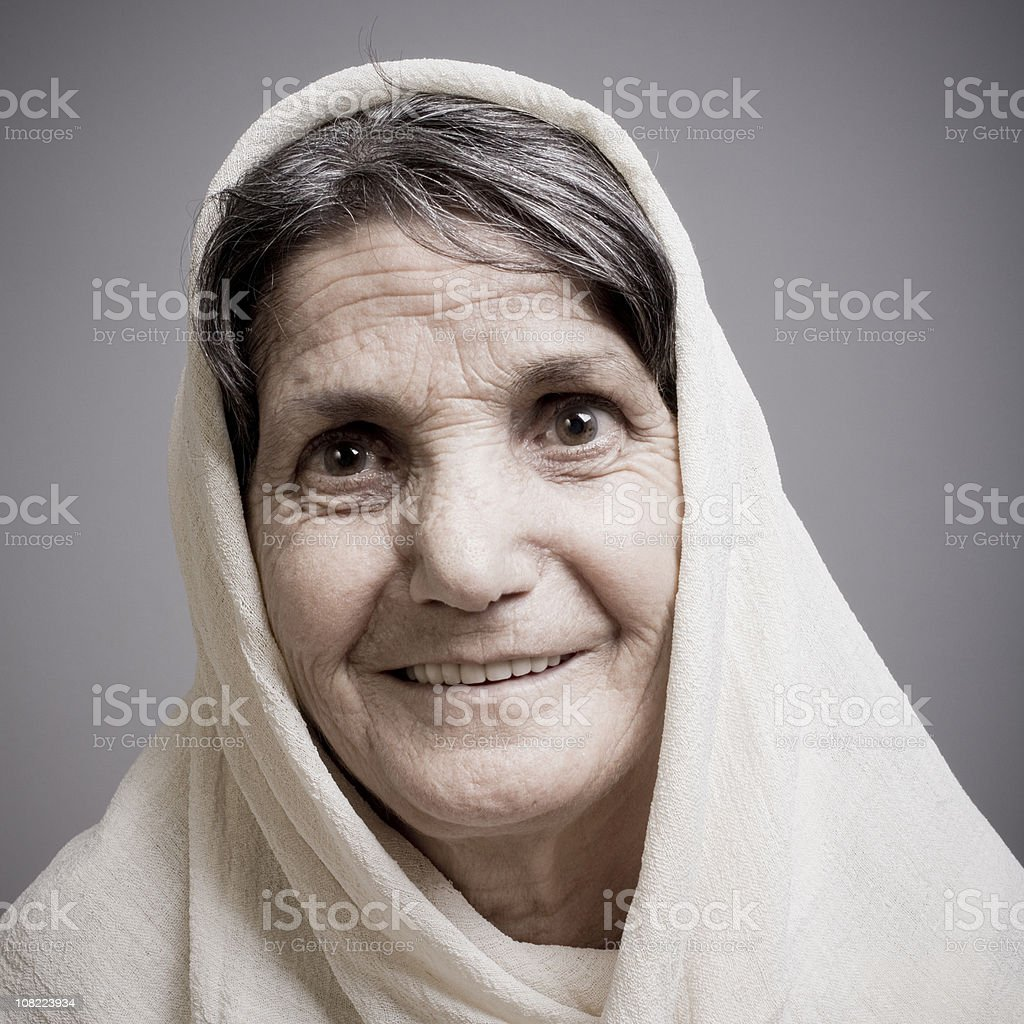 Senior woman in headscarf royalty-free stock photo