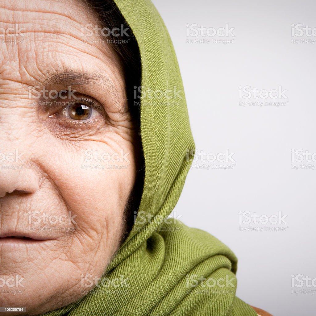 Senior woman in headscarf royalty-free stock photo