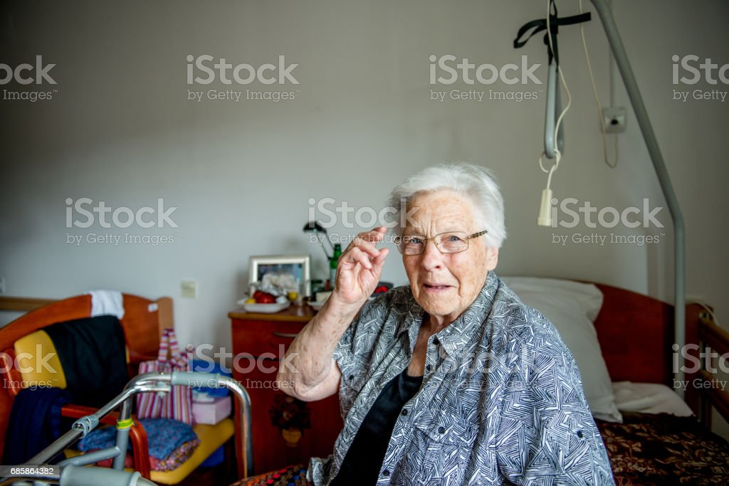 Senior Woman In Nursing Home stock photo