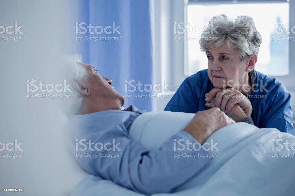 Senior woman in the hospital stock photo