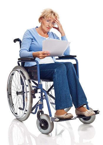 Senior Woman In Wheelchair Stock Photo - Download Image Now