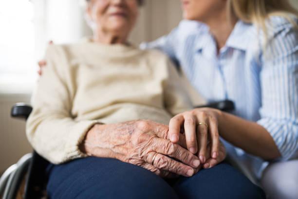 starsza kobieta na wózku inwalidzkim z gościem zdrowia w domu w czasie bożego narodzenia. - dojrzały zdjęcia i obrazy z banku zdjęć