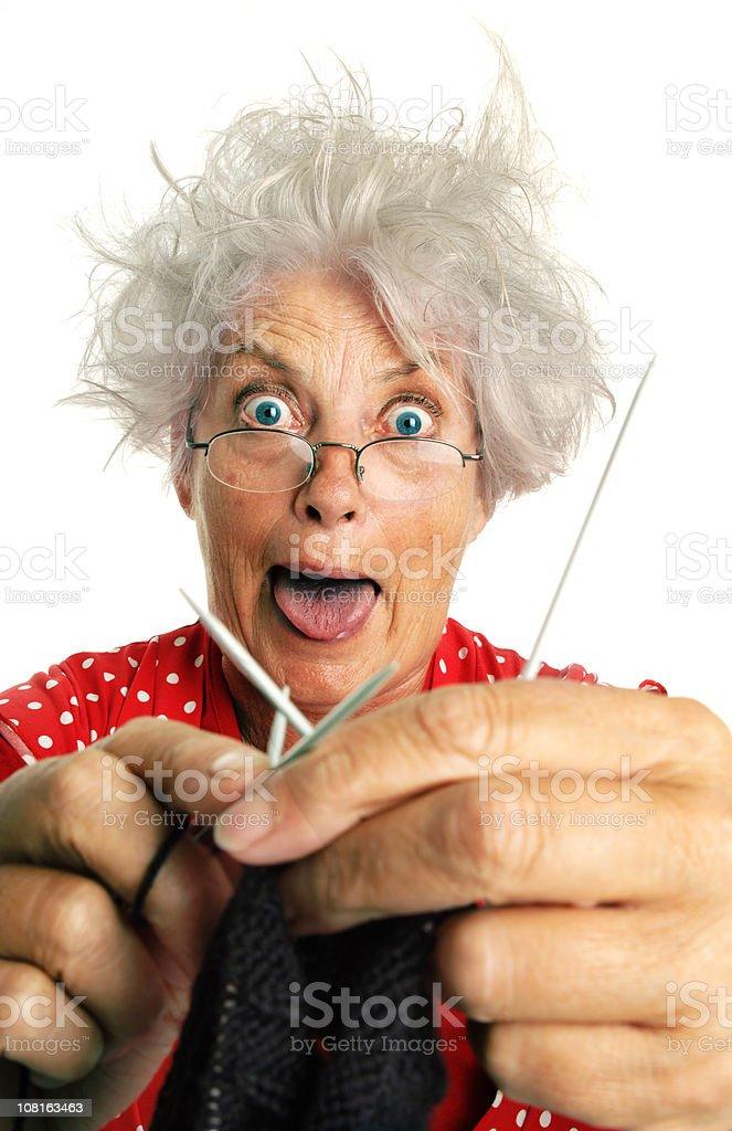 Senior Woman Knitting royalty-free stock photo