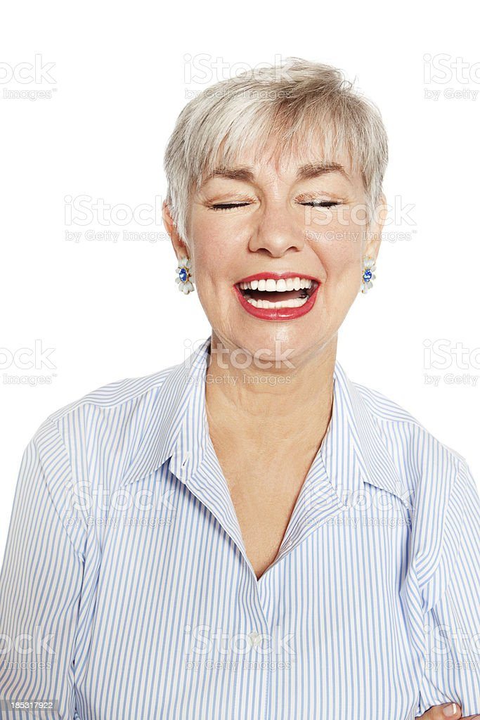 Senior Woman Laughing Out Loud royalty-free stock photo