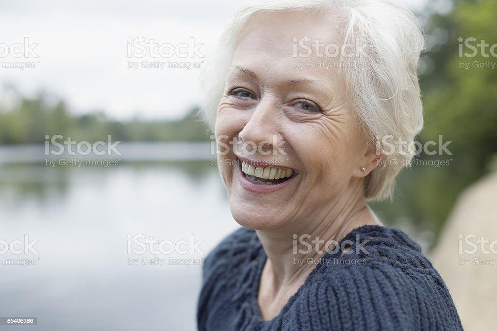 Senior woman laughing royalty-free stock photo