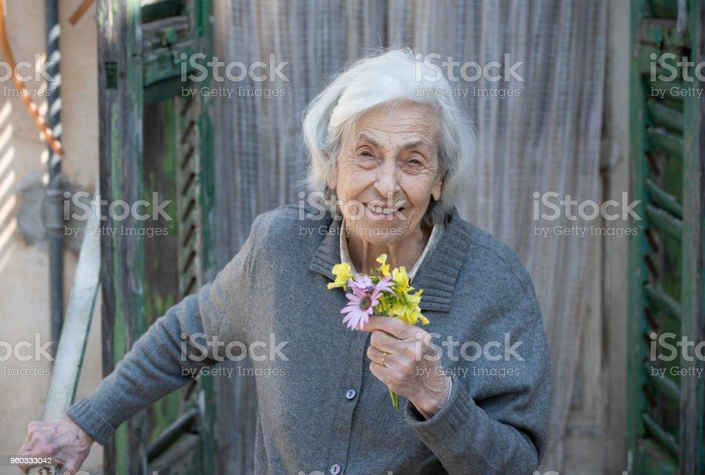 Senior woman laughing - foto stock