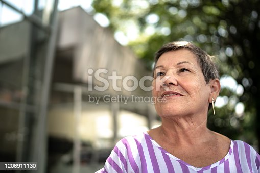 istock Senior woman looking away outdoors 1206911130