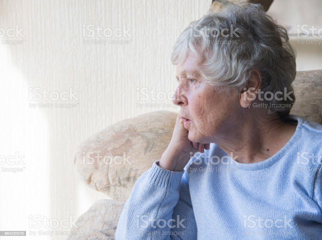 Senior woman looking upset and bored royalty-free stock photo